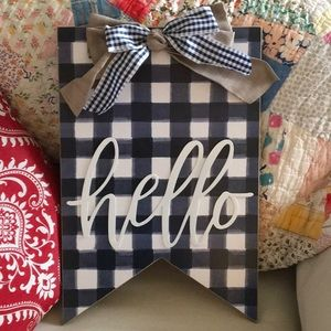 Blue Gingham Wood HELLO Sign canvas bows country